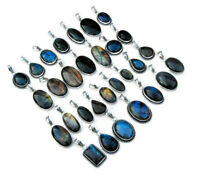 Wholesale 100 PCs. Lot Natural Blue & Mix Labradorite 925 Silver Plated Pendants