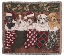 New Christmas Puppies Woven Afghan Tapestry Throw Gift Blanket NIP Holiday Dog