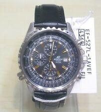EF-527L-1 Casio Edifice Analog Chronograp Leather Band Black Watch Brand New !!