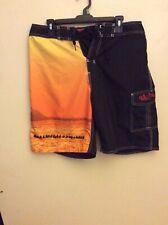 Eddie Aikau Waimea Bay Hawaii Black & Orange Board Shorts. Sz 32