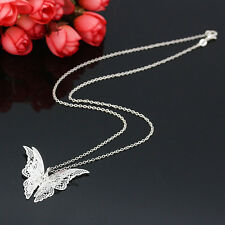 Women Crystal Silver Plated Openwork Butterfly Pendant Necklace Fashion Jewelry