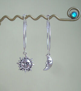 Sun and Moon Face Charm Silver Plated Hoop Earrings in Gift Bag - New Age Retro
