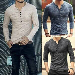 Men's Muscle T-Shirt Slim Fit Tee Long Sleeve V Neck Tops Casual Button Blouse