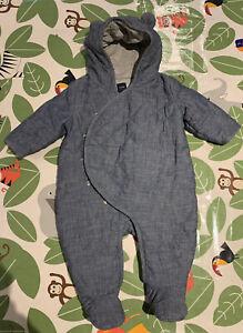 Gap Pramsuit / Snowsuit Navy Quilted, Blue, Age 3-6 Months