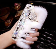 3D Luxury Bling Crystal Diamonds Fox Soft Warm Rabbit Fur Furry Phone Case Cover