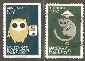 Australia: full set of 2 used stamps, Earth Hour, 2009, Mi#3166-7