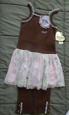 Xoxo Girl's 2 Piece Outfit Size 4 Nwt Dressy Top & Pants Brown & Flower Print