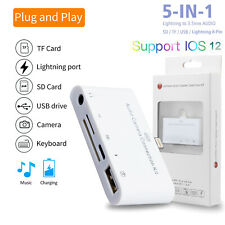 For iPad 7th 10.2' Lightning to USB Camera Micro SD Memory Card Reader headphone