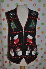VTG M UGLY VICTORIA JONES  BLACK CHRISTMAS SNOWMAN tree stocking SWEATER VEST