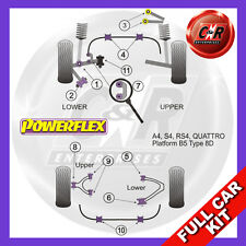 Audi A4 B5 Quattro (1995-2001) Powerflex Complete Bush Kit Rear Upper Steel Arms