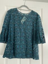 Tealy Green And Black Lace Top New Witj Tags Size 18-20