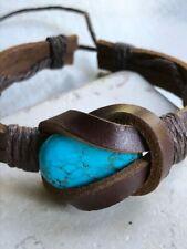 Men Women Adjustable Genuine Leather Bracelet Bangle Wristband Turquoise Cuff