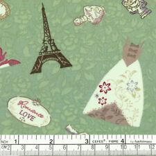 Cotton Fabric FQ Paris Eiffel Floral Bouquet Wedding Dress Shoes Patchwork VA33