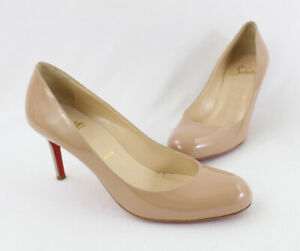 Christian Louboutin Beige Patent Leather Round Toe Pump Heel Shoe Size 37.5 7.5