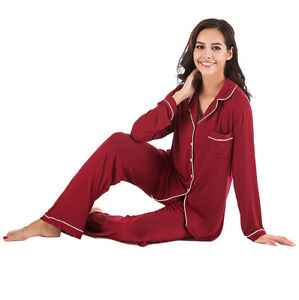 Women's Pajamas Comfortable Soft Long Sleeve Solid Color Sleepwear Suit New