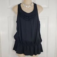 OUTBACK RED Size Small Black Sleeveless Ruffle Tank Top Shirt Blouse Womens