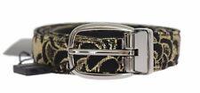 Nuovo Dolce & Gabbana Cintura Nero pelle Oro Broccato Fibbia S.90cm /3
