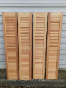"4 NOS Interior Louvered Wooden Window Shutters 48"" x 9"""
