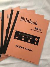 MCINTOSH MR77 STEREO FM TUNER Owner's Manual-copy version