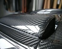 "12""x60"" 5D Ultra Shiny Gloss Glossy Black Carbon Fiber Vinyl Wrap Sticker Decal"