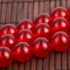 8mm Red Jade Gemstone Round Loose Bead 15''