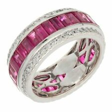 9.5mm Wide 35 Bright Genuine Rubies and Cubic Zirconia Wedding Bridal Women Ring