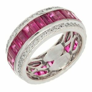 Buy Two Rings for one Pair LWJYX Couple Ring His and Hers Three Round Ruby Cubic Zironias Wedding Engagement Ring Sets for Women /& 8mm Wide Mens Stainless Steel Wedding Bands