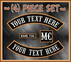 """CUSTOM EMBROIDERED 4 PIECE 13"""" MC ROCKER PATCH SET MOTORCYCLE BIKERS SONS USA"""
