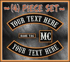 """CUSTOM EMBROIDERED 4 PIECE 13"""" MC ROCKER PATCH SET OUTLAW MOTORCYCLE BIKERS CUT"""