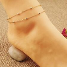 Foot Jewelry Barefoot Beach Anklet bdu Noble Gold Double Chain Bracelet Ankle