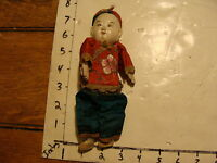 vintage CHINESE DOLL #3 red and blue with hat