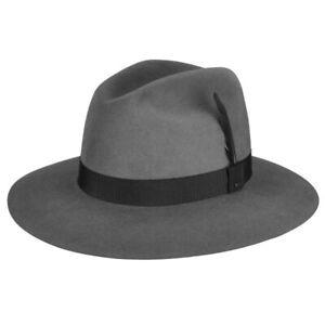 Bailey Davies Taupe Gray Fine Light Superior Fur Felt Fedora Hat  6 7/8 NWT