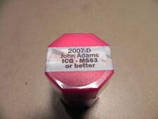 2007-D John Adams $20 Roll MS63 or Better Presidential Dollar Coins