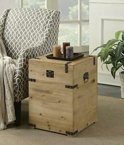 Rustic Trunk End Side Table Storage Western Real Solid Wood Cabin Lodge
