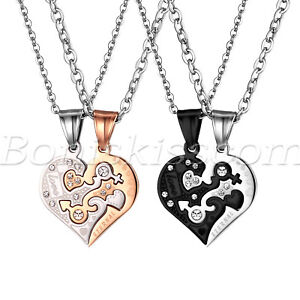 His and Hers Stainless Steel Love Eternal Heart Matching Puzzle Pendant Necklace