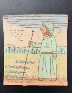 Pennsylvania Outsider Artist John Savitsky Drawing Of Saint Patrick. Signed 1991