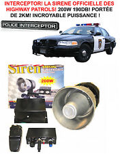 LA CELEBRE SIRENE INTERCEPTOR DES HIGHWAY PATROL ! 12V 200W 190DB S'ENTEND A 2KM