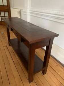 LOMBOK Console Table Two Drawers Solid Wood Great Condition - Needs to Go!