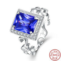 5.25CT Emerald Cut Tanzanite Solid 925 Sterling Silver Ring Size L½ N½ P½ R½