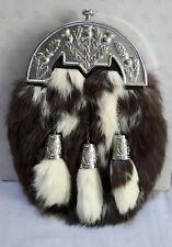 Scottish Kilt Original Rabbit Full Dress Sporran Antique Chrome Thistle Cantel