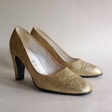 """Dolcis Stardust Vintage 1960s oro larmé Tela Court Shoe Taco de 3"""" UK 3 EU 36"""