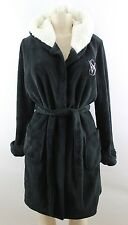 Victoria's Secret The Cozy Short Hooded Plush Bath Robe Medium Black New