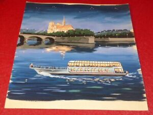 Large Superb Gouache Years 1950 Paris (Dark) Notre-Dame Boat Fly 37X34cm
