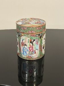 Chinese Famille Rose, Rose Medallion Tea Caddy Qing Dynasty 19th C