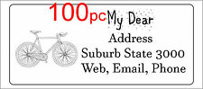 100 Personalised return address label bicycle custom mailing sticker 56x25mm