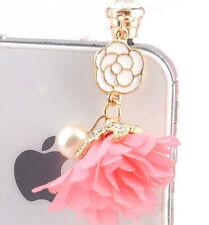 PINK Cute Flower & Rhinestone UNIVERSAL Headphone Dust Plug Charm Phone Kawaii