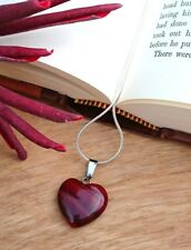 GENUINE Natural Gemstone Jasper Heart Pendant Necklace with Gift Box