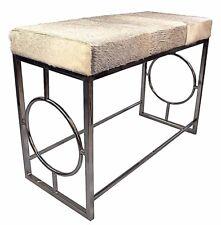 Luxury 1 n half seater Cowhide Mid Century Modern Ottoman bench seat stool