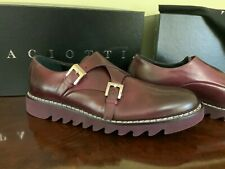 100% AUTHENTIC CESARE PACIOTTI DOUBLE MONK BURGUNDY SHOES, SIZE 10US, MADE ITALY