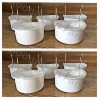 10x Plastic D Cup Feeder Pot & Lids 7.5cm Bending Hooks For Cage - Finch, Canary